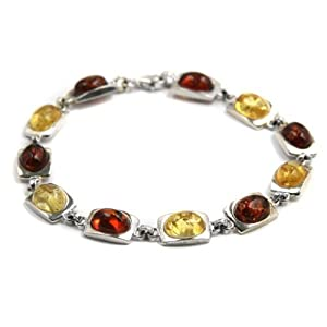 Honey Lemon Amber and Sterling Silver Modern Abstract Wisdom Bracelet 7.5 Inches