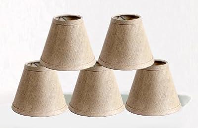 Urbanest Linen Chandelier Lamp Shades, 6-inch, Hardback Clip On, Oatmeal(set of 5)