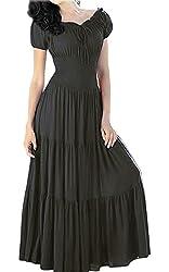 Meaneor Women Boho Cap Sleeve Smocked Waist Tiered Renaissance Summer Maxi Dress