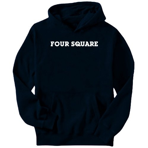 Four Square Simple / Basic Sports Mens Hoodie (Navy Blue, Size Large)