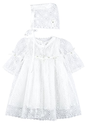 Lilax Baby Girl's Christening Baptism Lace Overlay Dress Gown & Bonnet 2 Piece Deluxe Set 3M