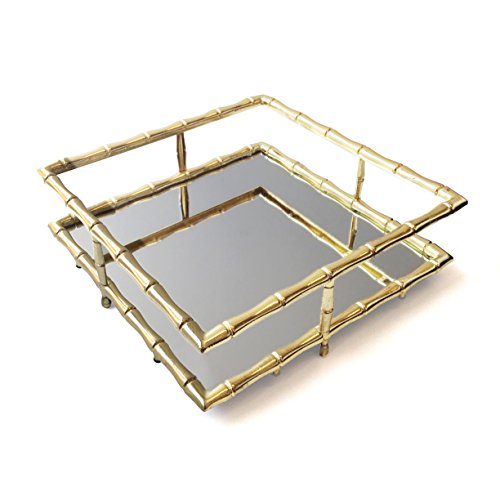 JT ROSE & CO. GOLD BAMBOO SQUARE MIRROR TRAY 8X8X2.5 T10681
