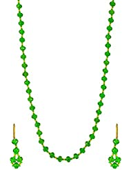 Surana Jewellers Green Glass Beads Strand Necklace Set For Women (Surana031)
