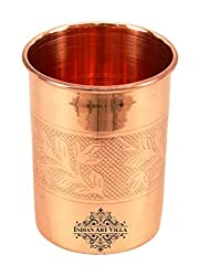 IndianArtVilla 3.8 X 2.9 Pure Copper Embossed Glass Tumbler 300 ML - Serving Drinking Water Home Hotel Restaurant Tableware Good Health Benefit Yoga Ayurveda