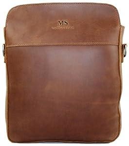 Secuda Vintage Men's Cowhide Leather Shoulder iPad Tablet PC Bag / Case School Bag Messenger Satchel Brown by SECUDA