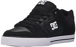 DC Men\'s Pure Skateboarding Shoe, Black/Black/White, 10 M US