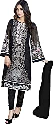 Rooh Creation Women's Faux Georgette Semi Stitched Dress Material (Black_Free Size)