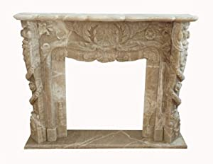 classical surround FIREPLACE 1.5 x 1.2 m massive marble veined beige D Heb 18 from Luxury-Park