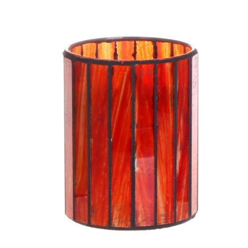 Dfl 3*4 Inch Red Vertical Stripes Mosaic Glass With Flameless Led Candle With Timer,Work With 2 Aa Battery