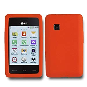 Silicone Rubber Orange Skin Cover Case for LG 840G LG840G Tracfone