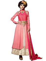 Inddus Women Pink & Beige Color Semistitched Suit Set