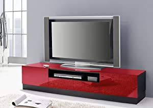 tv board fersehtisch lowboard schwarz rot c3. Black Bedroom Furniture Sets. Home Design Ideas