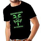 N4249 メンズTシャツ 匿名を - 革命が来ています (XXXX-Large 黒 Green)