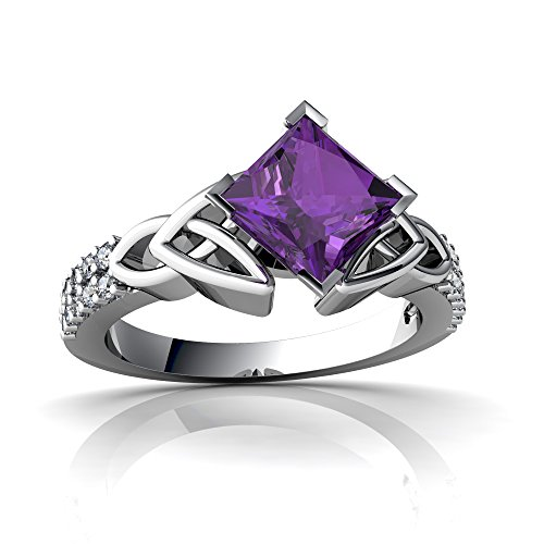14kt+White+Gold+Amethyst+Diamond+6mm+Square+Celtic+Knot+Ring+-+Size+7
