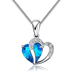 FLORAY Woman's Blue Heart Crystal with Silver Heart Pendant Necklace, Sterling Silver Chain. Free Blue Jewellery Box, Beautiful Gift for Girls.Length:45cm