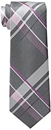 Michael Kors Men\'s Michael Weekender Plaid Tie, Silver, One Size