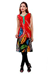 Kurti Studio Festive Red Unstitched Cotton Kurti Dress Material