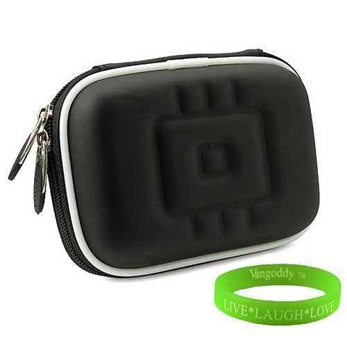 Black Vangoddy Newly Designed Durable Cyber-Shot Digital Camera Case for Sony Cyber-shot DSC-HX9V 16.2 MP Exmor R CMOS Digital Still Camera with Interlaced Memory Foam Interior + Vangoddy Live * Laugh * Love Wrist Band!!!