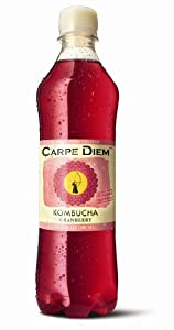 Carpe Diem Kombucha Tea, Cranberry, 16.9-Ounce Bottles (Pack of 12)