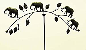 Metal Garden Wind Vane Spinner - Elephant Family by Brilliant Wall Art