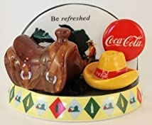 Coca-Cola Be Refreshed Cowbow Salt & Pepper Shakers with Base (Coke)