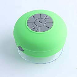 J-deal® Hd Water Resistant Bluetooth 3.0 Shower Speaker Handsfree Portable Speakerphone with Built-in Mic, 6hrs of Playtime, Control Buttons and Dedicated Suction Cup for Showers Pool& Outdoor(green)