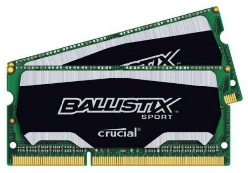 Crucial Ballistix Sport SODIMM 16GB Kit (8GBx2) DDR3 1600 MT/s (PC3-12800) CL9 @1.35V 204-Pin Memory BLS2K8G3N169ES4