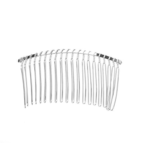 Pixnor 7.8cm 20 Teeth Fancy DIY Metal Wire Hair Clip Comb Bridal Wedding Veil Comb (Silver)