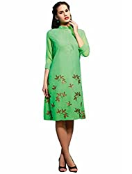 Feminista Women's Embroidered Unstitched Kurti (Fem-1008_Green_X-Large)