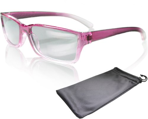 "3D Movie Glasses for Children - pink / transparent - for RealD cinema use and passive 3D TVs such as LG ""Cinema 3D"" and Philips ""Easy 3D""- circularly polarized - with pouch by Schleiter Jauernig 3d"