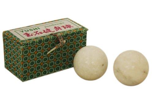 White Stone Chinese Healthy Exercise Massage Balls
