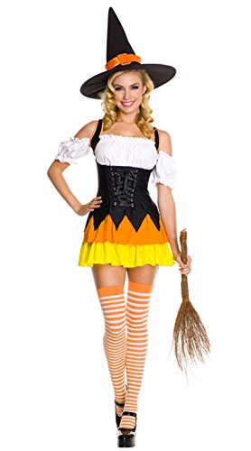 BeautyXTP Women Sexy Candy Corn Witch Halloween Costume Fancy Dress Outfit
