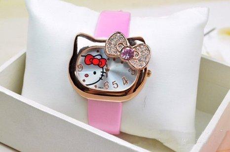 Hot Lovely Hello Kitty Cartoon Ladies Women'S Leather Belt Diamond Wrist Watch For Girlfriends Lady (Pink)