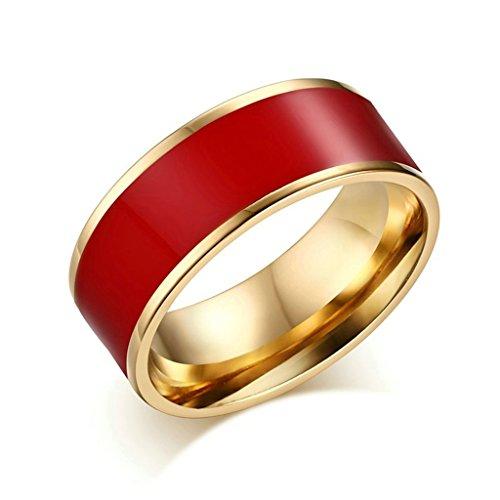 Alimab gioielli anelli Acciaio inossidabile donne Banda nozze in pianura rosso Anello Misura 15