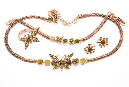Israeli Amaro Jewelry Studio 'Genesis' Collection Jewelry Set: Necklace, Bracelet, Earrings and Ring with Butterfly Embellishments, Featuring Stones: Citrine, Labradorite, Mother of Pearl, Swarovski Crystals; 24K Rose Gold Plated