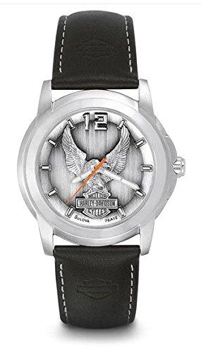 Harley-Davidson® Bulova® Men's Watch. Raise pewter dial. 76A12