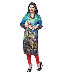 Shubh Women's Crepe Kurti (Shubh_114_Multi-Coloured_Free Size)