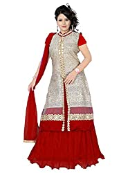 Priyanshu Creation Women's Net Red Indo Western Dress Material