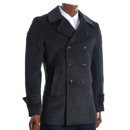 FLATSEVEN Mens Designer Double Breasted Winter Coat Wool Blends (CT214) Charcoal, XL