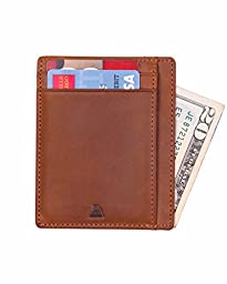 Andar Leather Slim Wallet, Minimalist Front Pocket RFID Blocking Card Holder Made of Full Grain Leather (Light Brown)