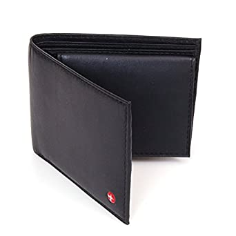 Alpine Swiss Men's Leather Bifold Wallet Removable Flip Up ID Window Black