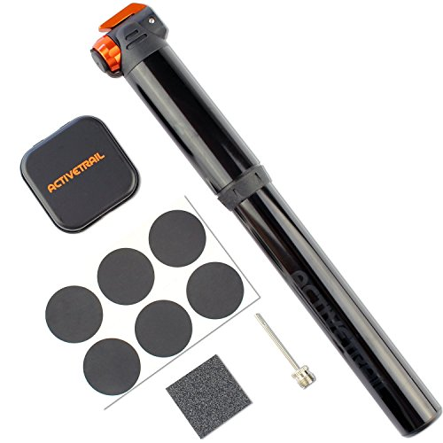 LIGHTWEIGHT MINI BIKE PUMP with Extendable Hose (For Effortless Pumping) and Bonus Tire Patch Repair Kit! This Portable Mini Bicycle Pump is Perfect for Presta and Schrader Valves. (Iron Horse Compressor Parts compare prices)