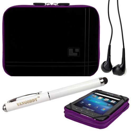 8 Inch Tablet Case Ultra Violet Neoprene Bubble Padded Zippered Sleeve (Fits the Barnes and Noble Nook Color, Simple Touch, Tablet, and Touch) + Black Barnes and Noble Nook Color, Simple Touch, Tablet, and Touch Compatible Stereo Ear Buds + 3 In 1 Stylus/