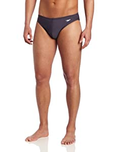 Speedo Men's Fashion Xtra Life Lycra Solid Solar 1 Inch Brief Swimsuit, Lava Grey, 32