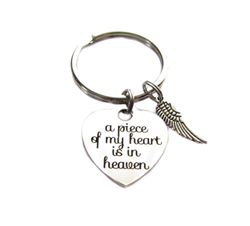 "Stainless Steel ""A Piece Of My Heart Is In Heaven"" Heart Charm, Wing Charm, Keychain, Key Chain, Bag Charm, Family Loved One Remembrance Gift"