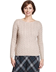 Classic Cable Knit Sparkle Jumper with Angora