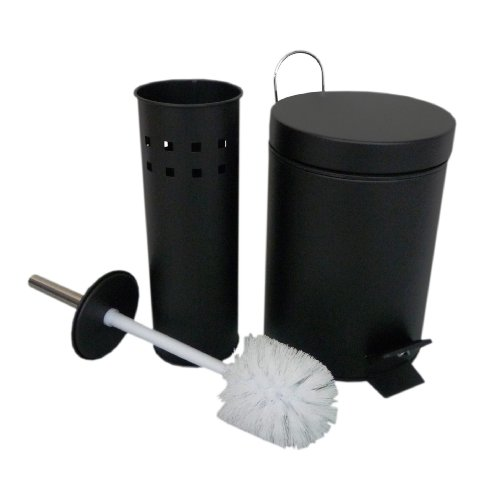 Black Steel Toilet Brush Holder & 5 Litre Waste Paper Pedal Bin Bathroom Set