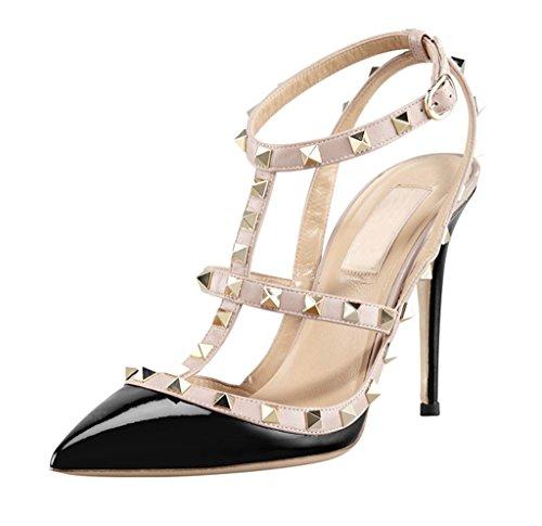 Littleboutique Metallic Strappy Sandal Pointed Toe Leather High Heel Celerity Dress Slingback Sandals Rivet Studded Stiletto Shoes Black 8
