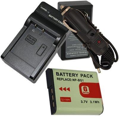 US Charger + Li-ion Battery for Sony G Type NP-BG1 BG1 + car plug