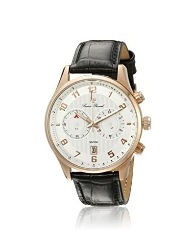 Lucien Piccard Men's LP-11187-RG-02S Navona Rose-Tone White/Black Leather Watch
